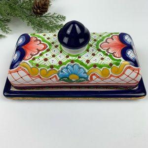 Mexican Folk Art Hand-painted Butter Dish